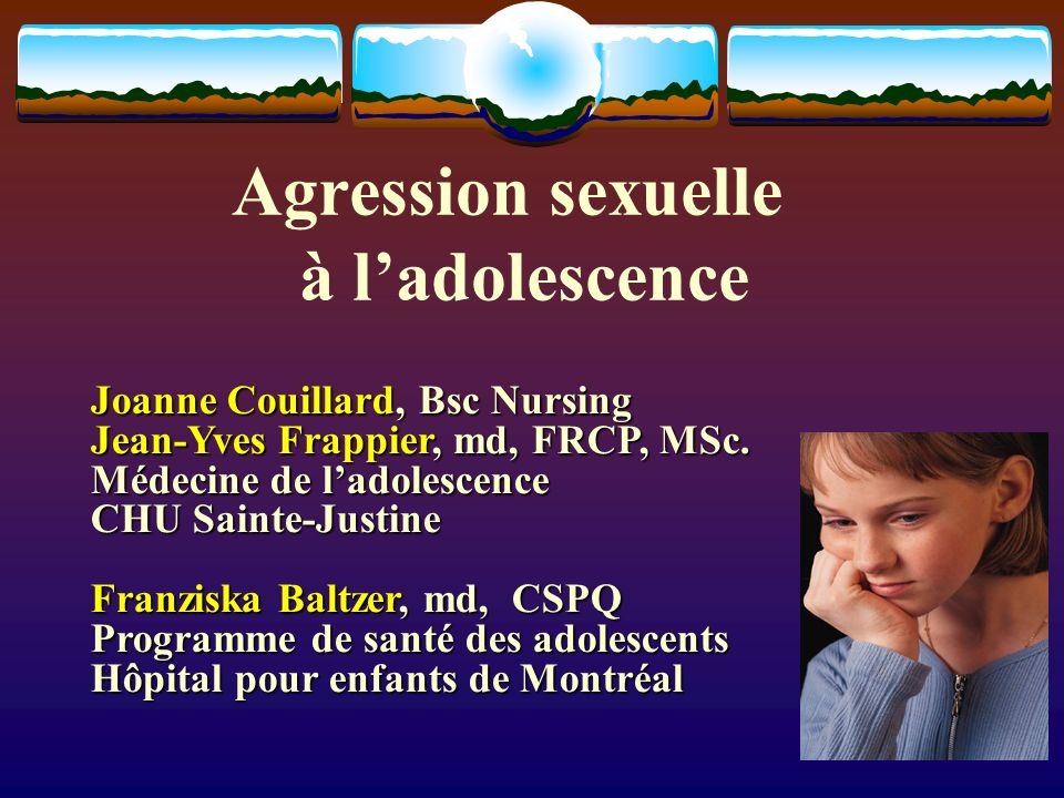 Agression sexuelle à l'adolescence