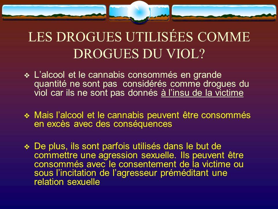 LES DROGUES UTILISÉES COMME DROGUES DU VIOL