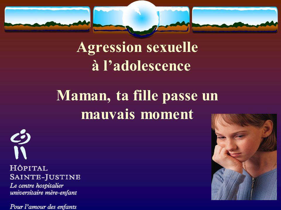 Agression sexuelle à l'adolescence Maman, ta fille passe un mauvais moment