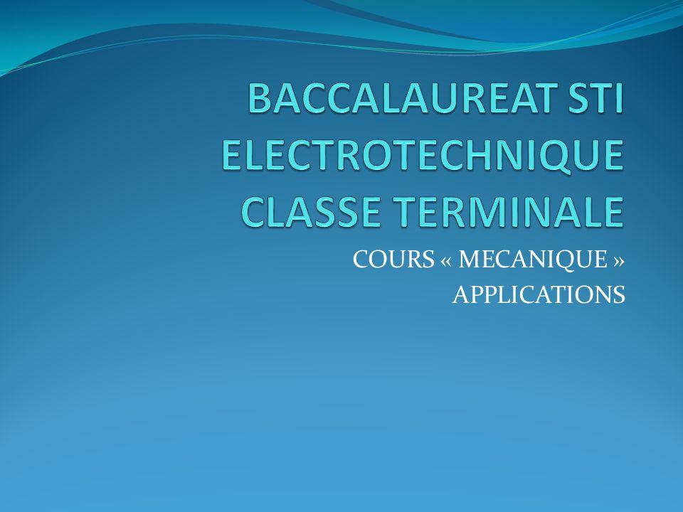 BACCALAUREAT STI ELECTROTECHNIQUE CLASSE TERMINALE
