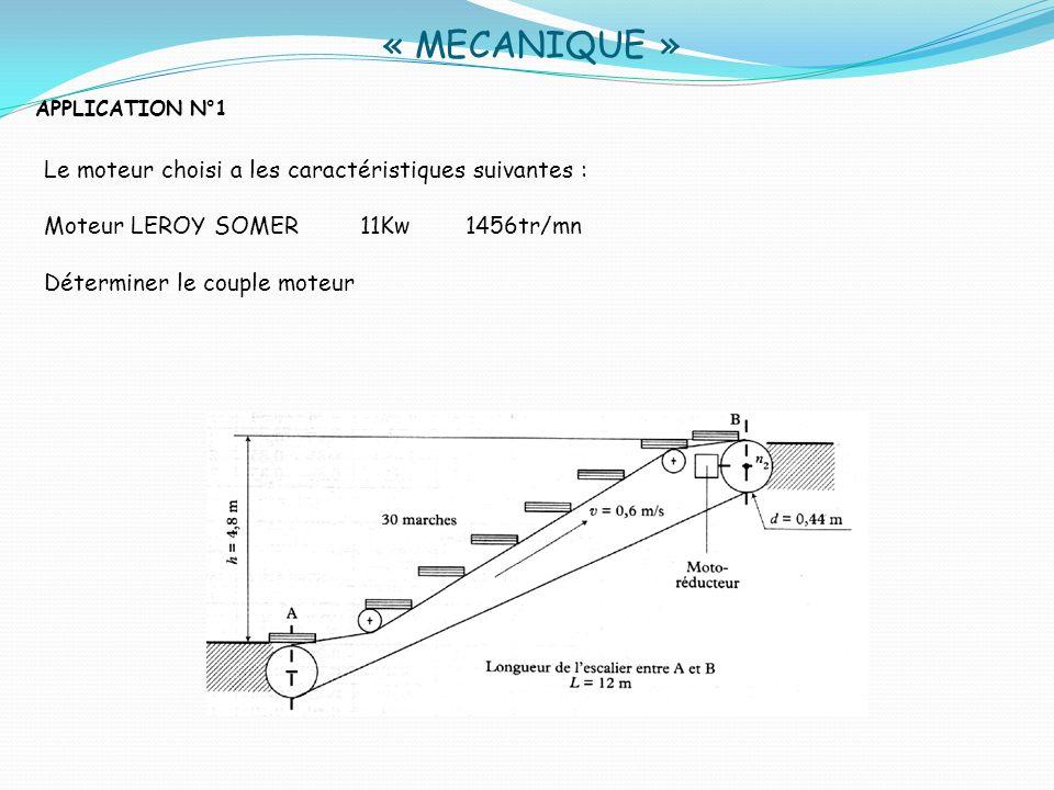 « MECANIQUE » Le moteur choisi a les caractéristiques suivantes :