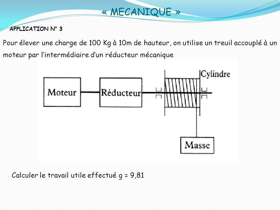 « MECANIQUE »APPLICATION N° 3.