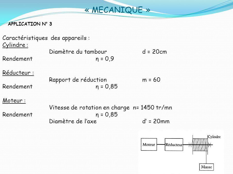 « MECANIQUE » Caractéristiques des appareils : Cylindre :