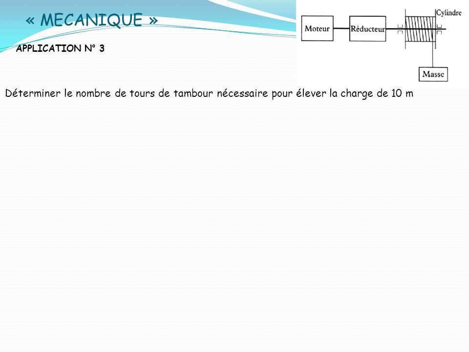 « MECANIQUE » APPLICATION N° 3. Déterminer le nombre de tours de tambour nécessaire pour élever la charge de 10 m.