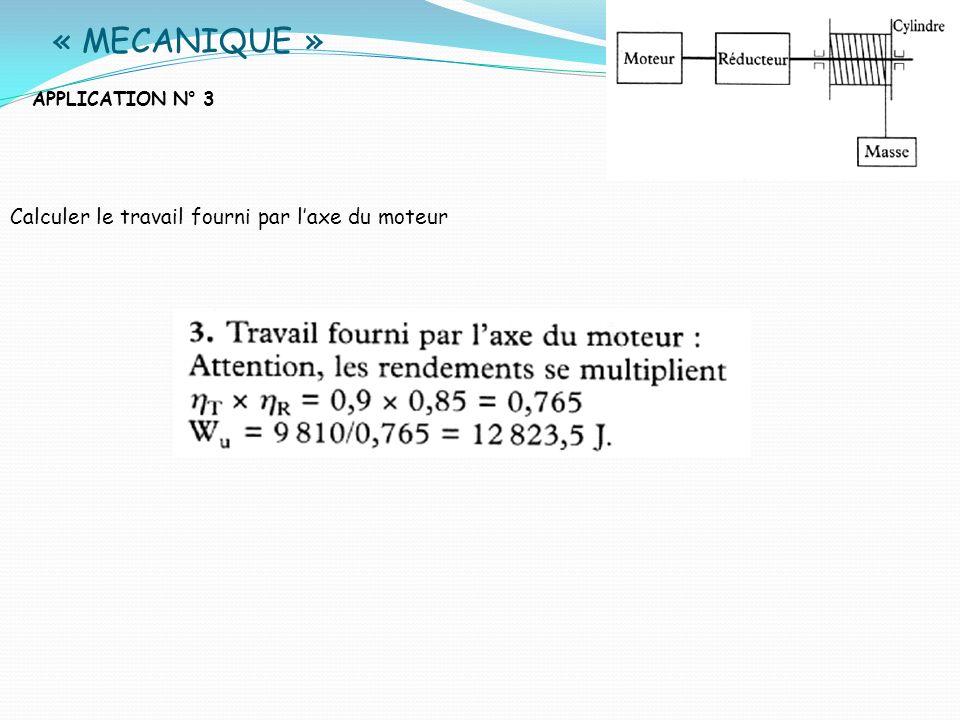 « MECANIQUE » Calculer le travail fourni par l'axe du moteur