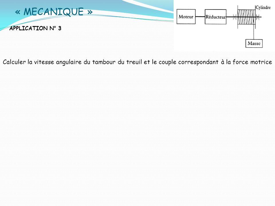 « MECANIQUE »APPLICATION N° 3. Calculer la vitesse angulaire du tambour du treuil et le couple correspondant à la force motrice.