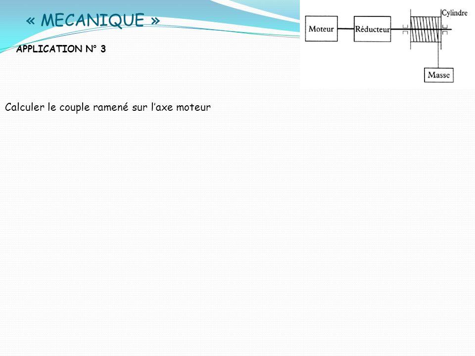 « MECANIQUE » Calculer le couple ramené sur l'axe moteur