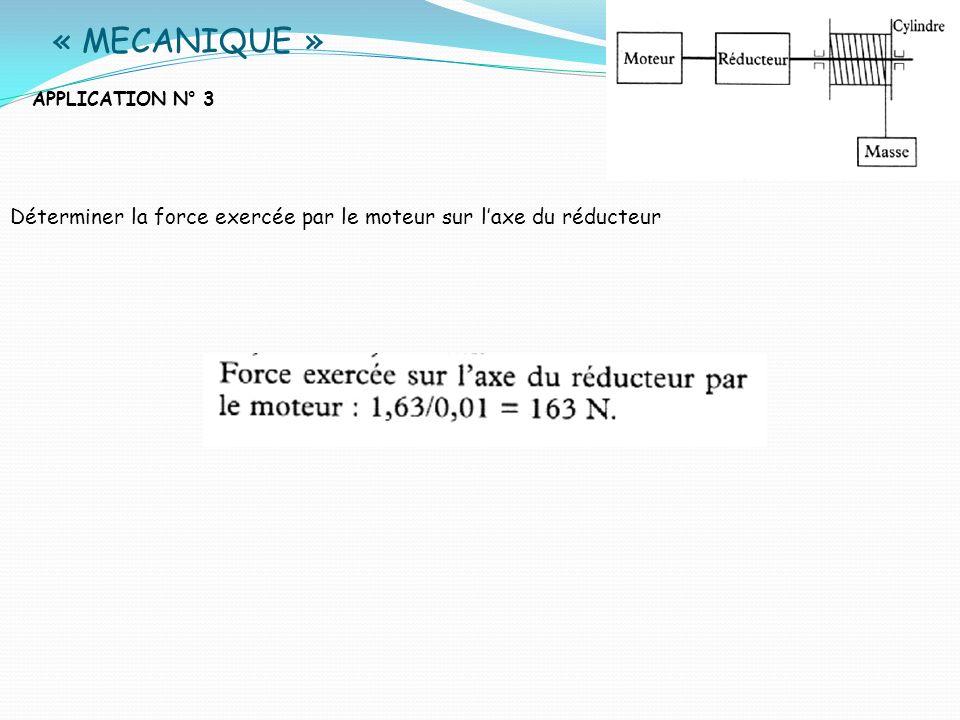« MECANIQUE » APPLICATION N° 3 Déterminer la force exercée par le moteur sur l'axe du réducteur