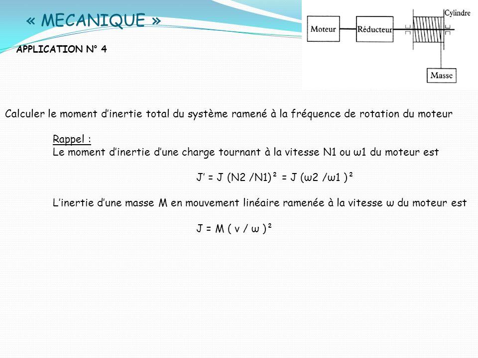 « MECANIQUE » APPLICATION N° 4. Calculer le moment d'inertie total du système ramené à la fréquence de rotation du moteur.