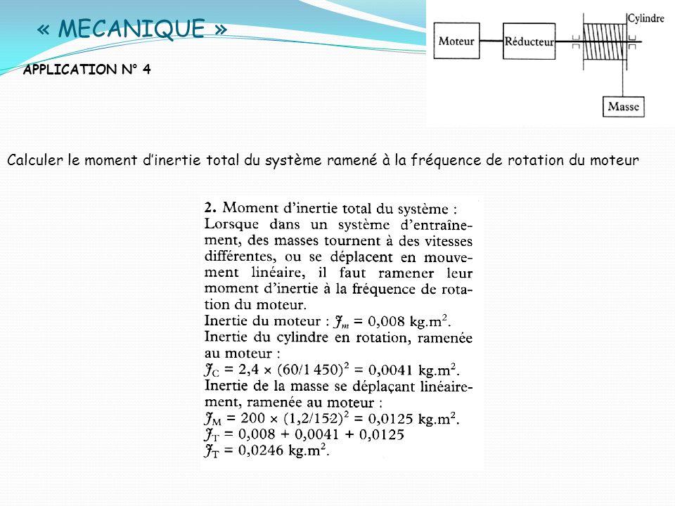 « MECANIQUE »APPLICATION N° 4. Calculer le moment d'inertie total du système ramené à la fréquence de rotation du moteur.