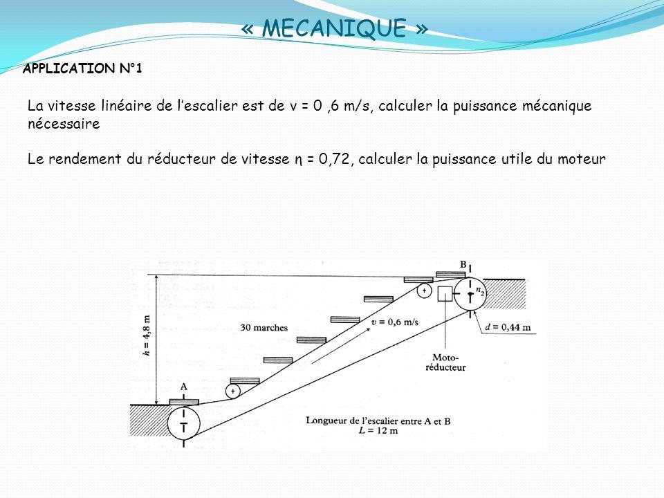 « MECANIQUE »APPLICATION N°1. La vitesse linéaire de l'escalier est de v = 0 ,6 m/s, calculer la puissance mécanique nécessaire.