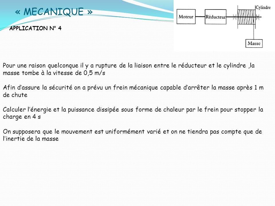 « MECANIQUE »APPLICATION N° 4.