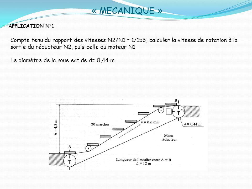 « MECANIQUE »APPLICATION N°1.