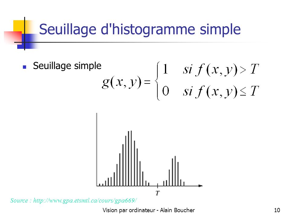 Seuillage d histogramme simple