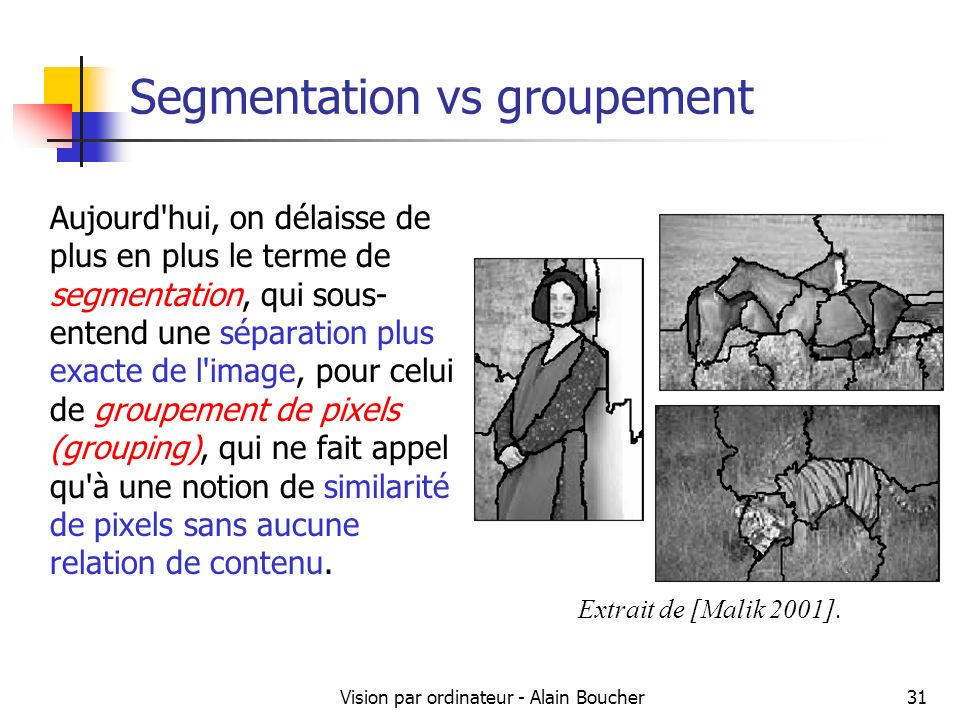 Segmentation vs groupement