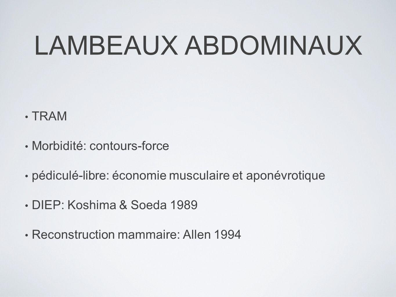 LAMBEAUX ABDOMINAUX TRAM Morbidité: contours-force