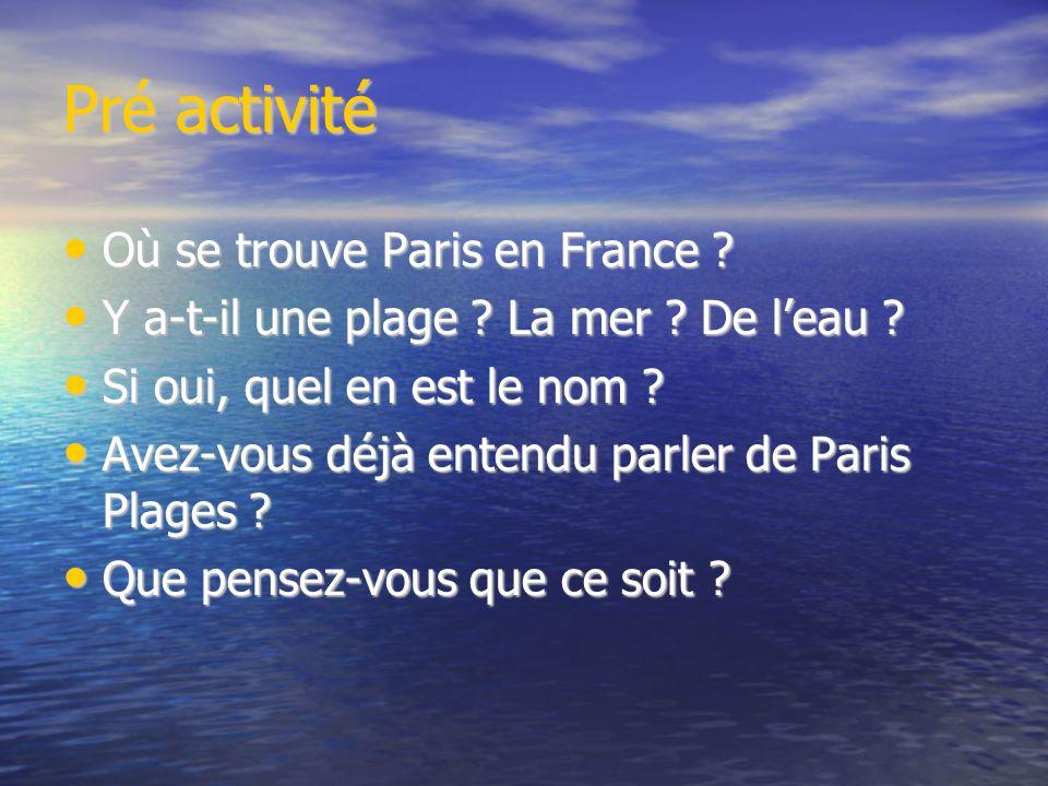 Pré activité Où se trouve Paris en France