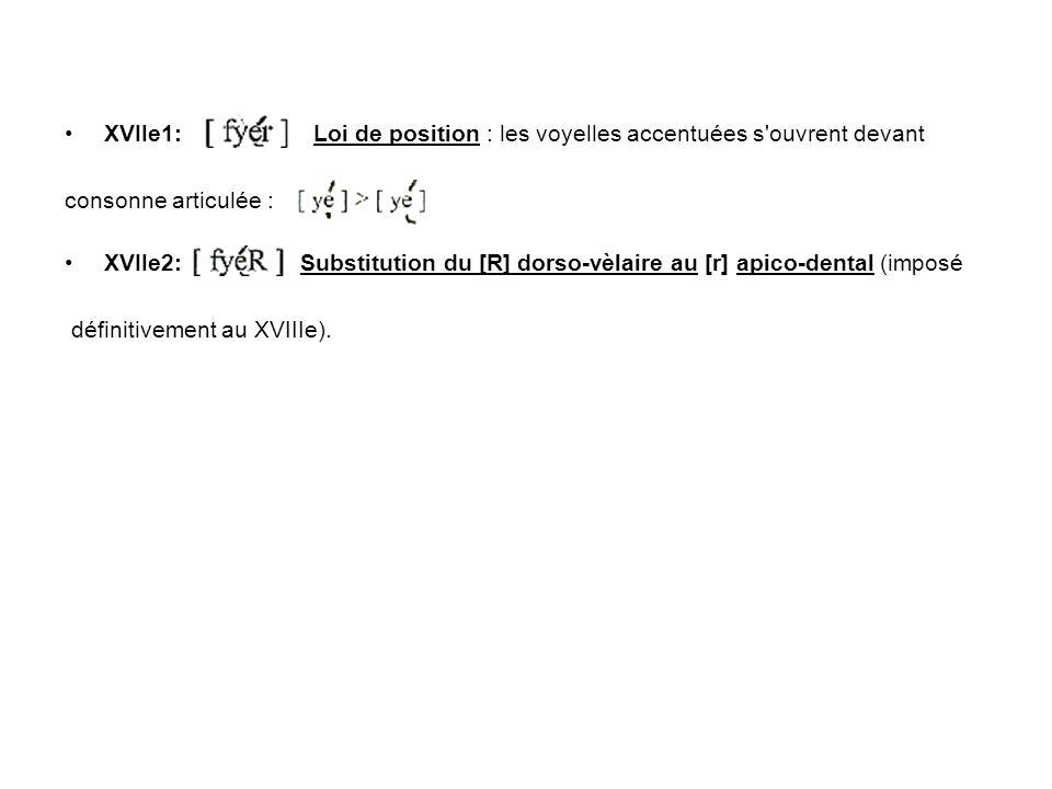 XVIIe1: Loi de position : les voyelles accentuées s ouvrent devant