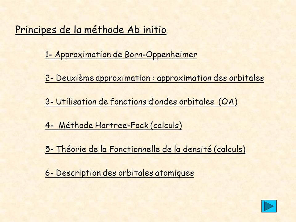 Principes de la méthode Ab initio