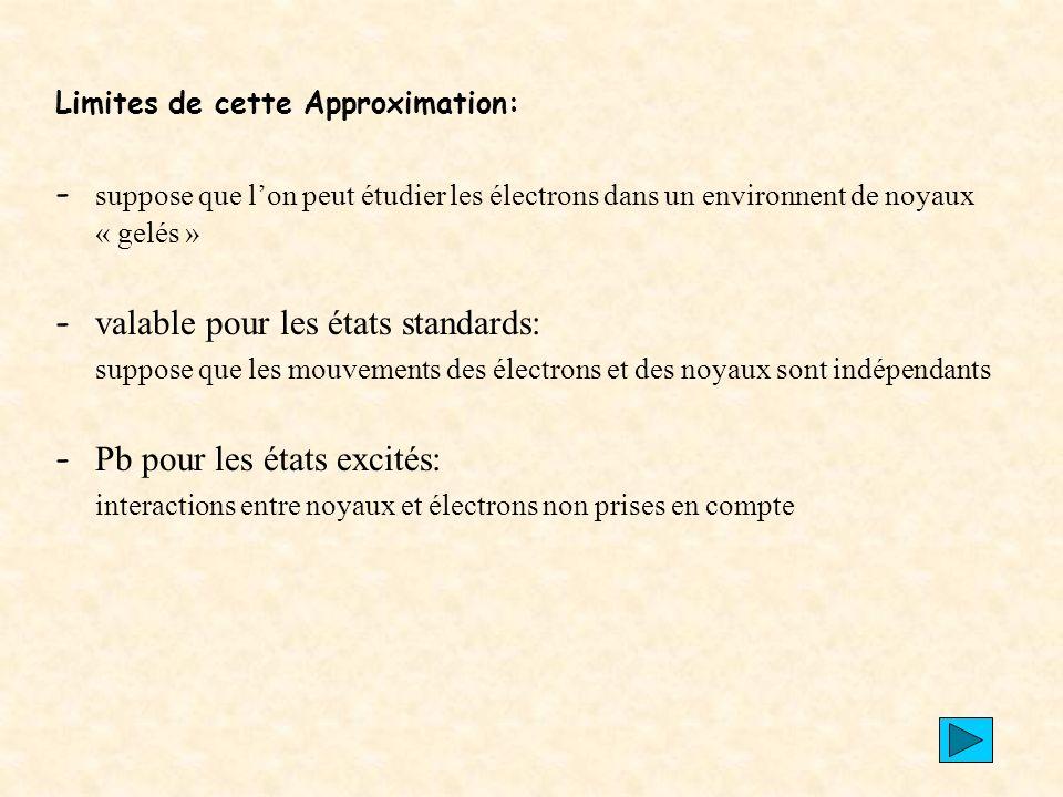 - valable pour les états standards: