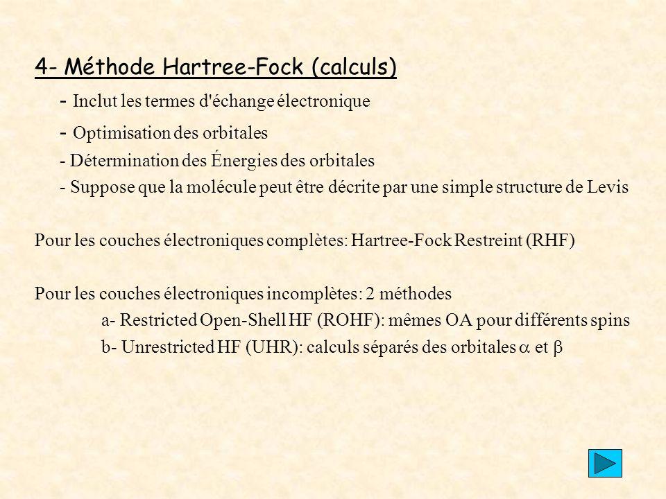 4- Méthode Hartree-Fock (calculs)