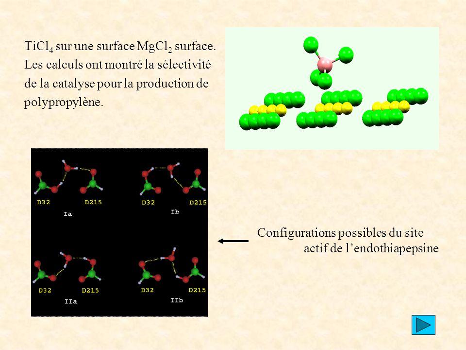 TiCl4 sur une surface MgCl2 surface.