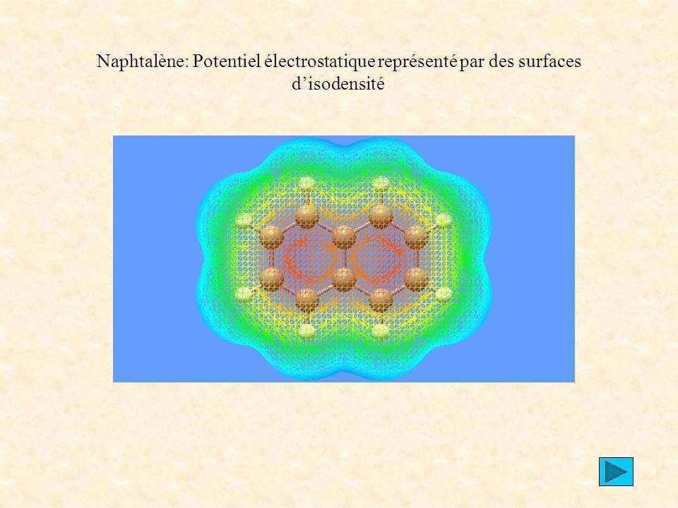 Naphtalène: Potentiel électrostatique représenté par des surfaces d'isodensité