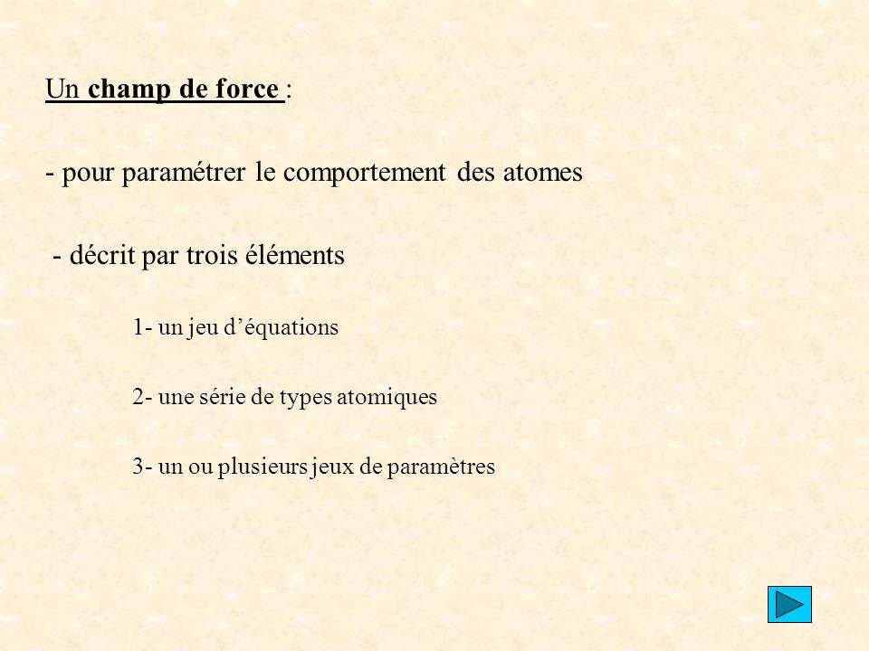 - pour paramétrer le comportement des atomes