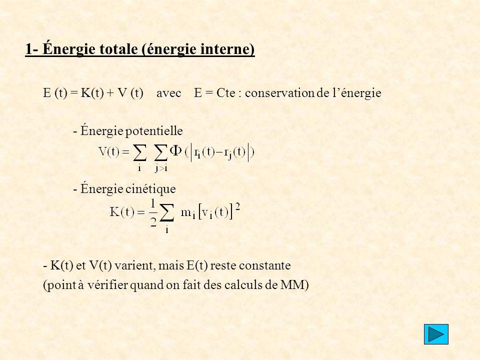 1- Énergie totale (énergie interne)