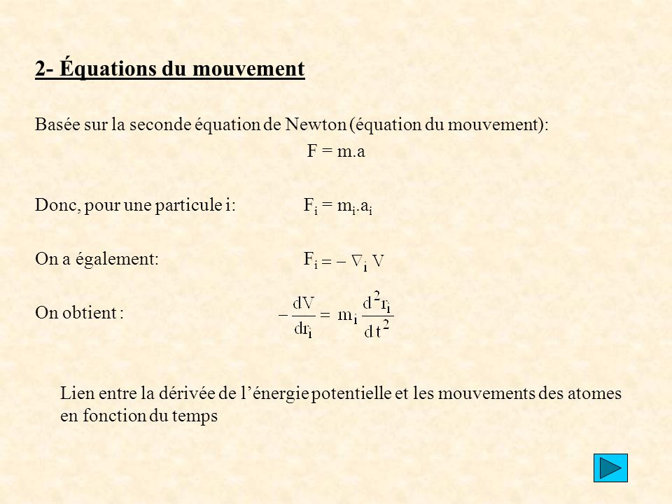 2- Équations du mouvement
