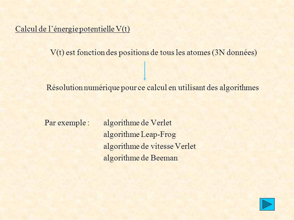Calcul de l'énergie potentielle V(t)