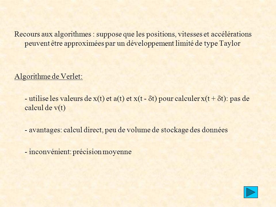 Recours aux algorithmes : suppose que les positions, vitesses et accélérations peuvent être approximées par un développement limité de type Taylor