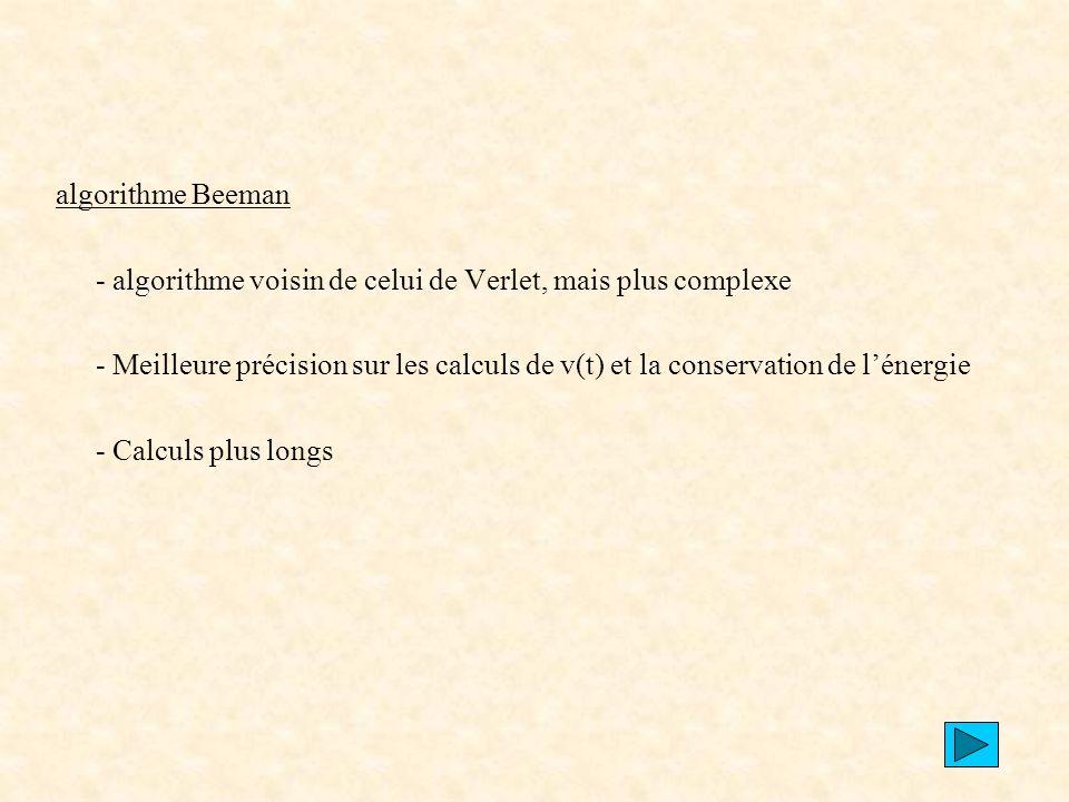 algorithme Beeman - algorithme voisin de celui de Verlet, mais plus complexe.