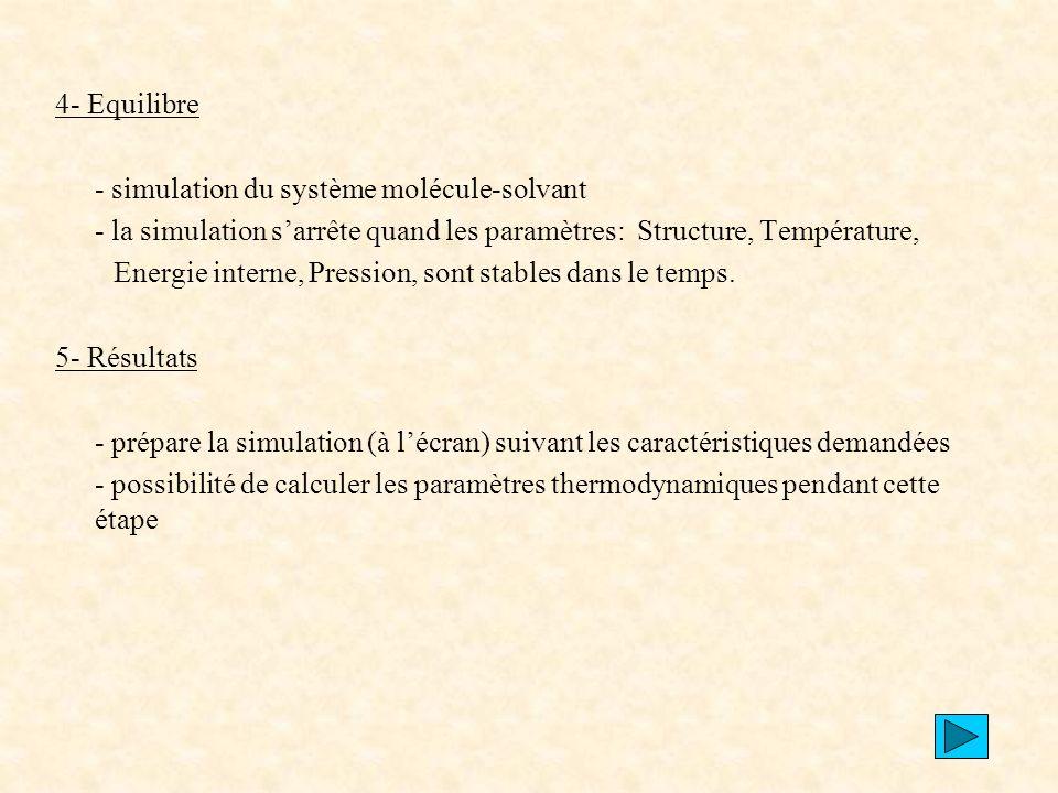 4- Equilibre - simulation du système molécule-solvant. - la simulation s'arrête quand les paramètres: Structure, Température,