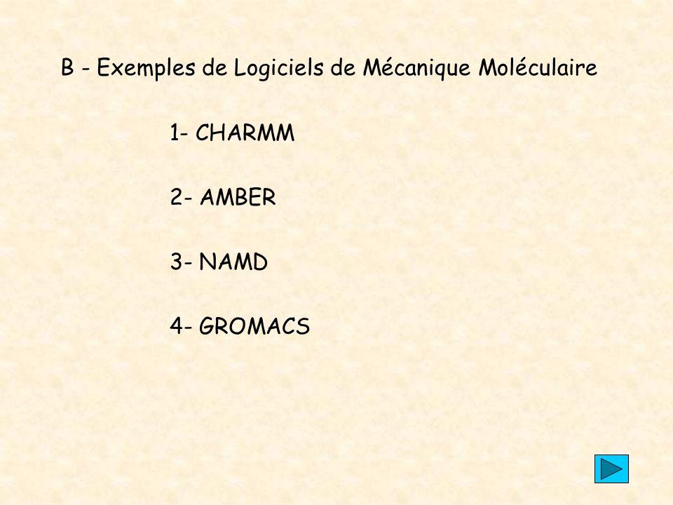 B - Exemples de Logiciels de Mécanique Moléculaire
