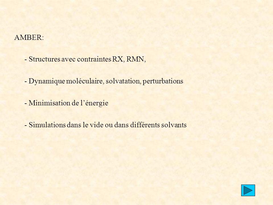 AMBER: - Structures avec contraintes RX, RMN, - Dynamique moléculaire, solvatation, perturbations.
