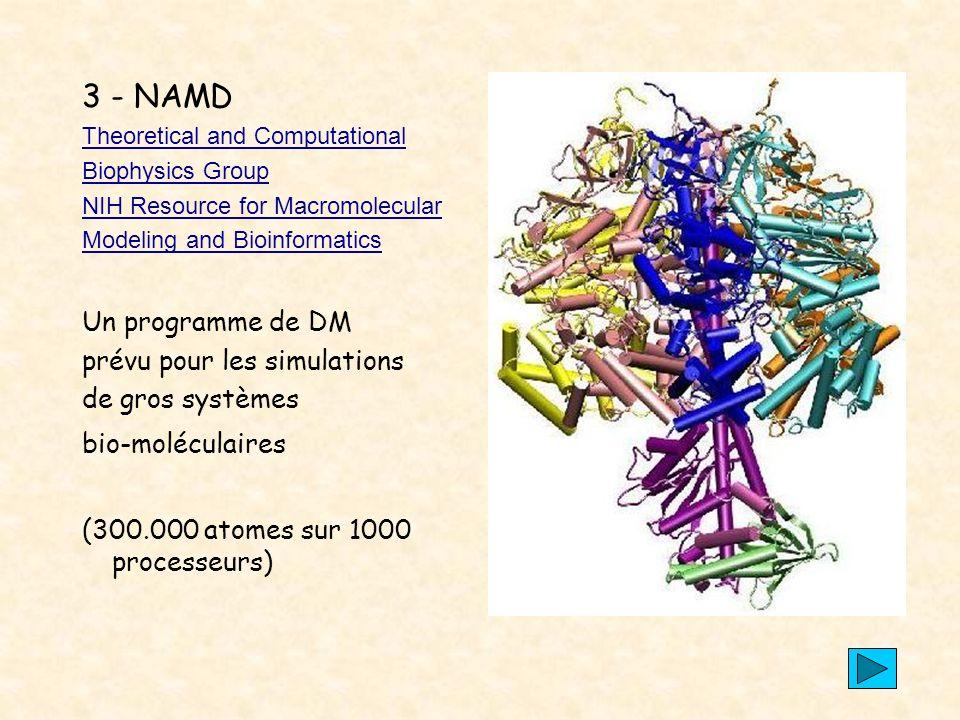 3 - NAMD Un programme de DM prévu pour les simulations
