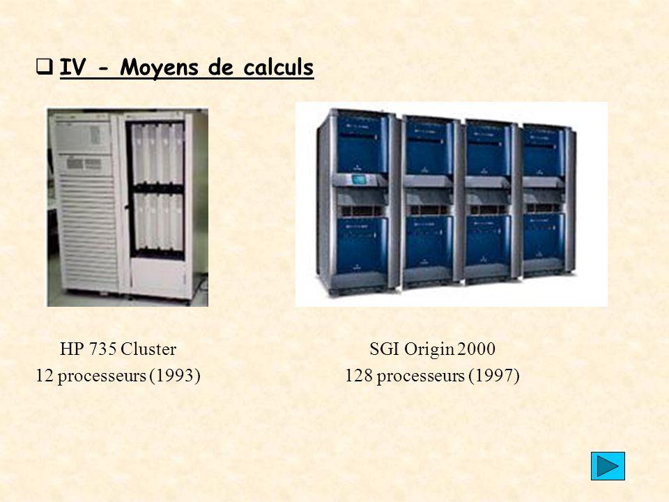 IV - Moyens de calculs HP 735 Cluster SGI Origin 2000