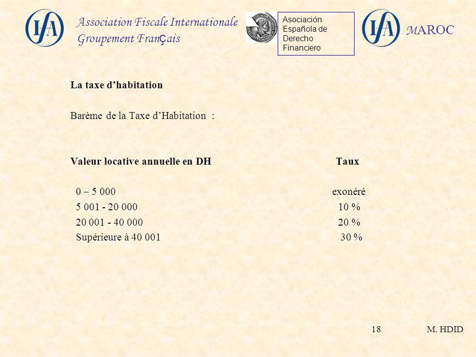 La taxe d'habitation Barème de la Taxe d'Habitation : Valeur locative annuelle en DH Taux.