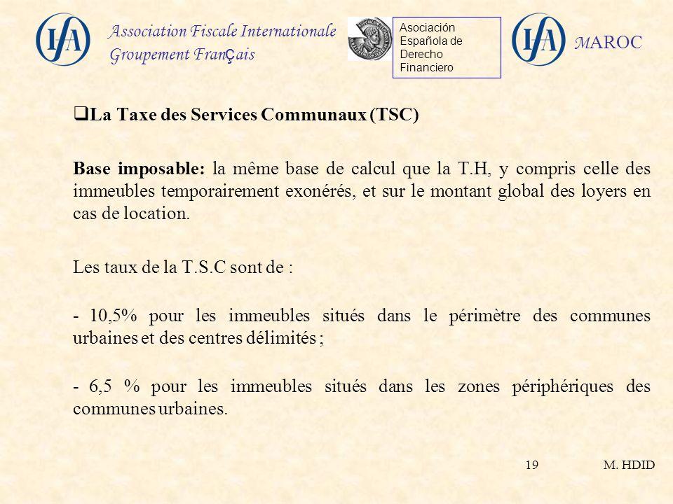 La Taxe des Services Communaux (TSC)