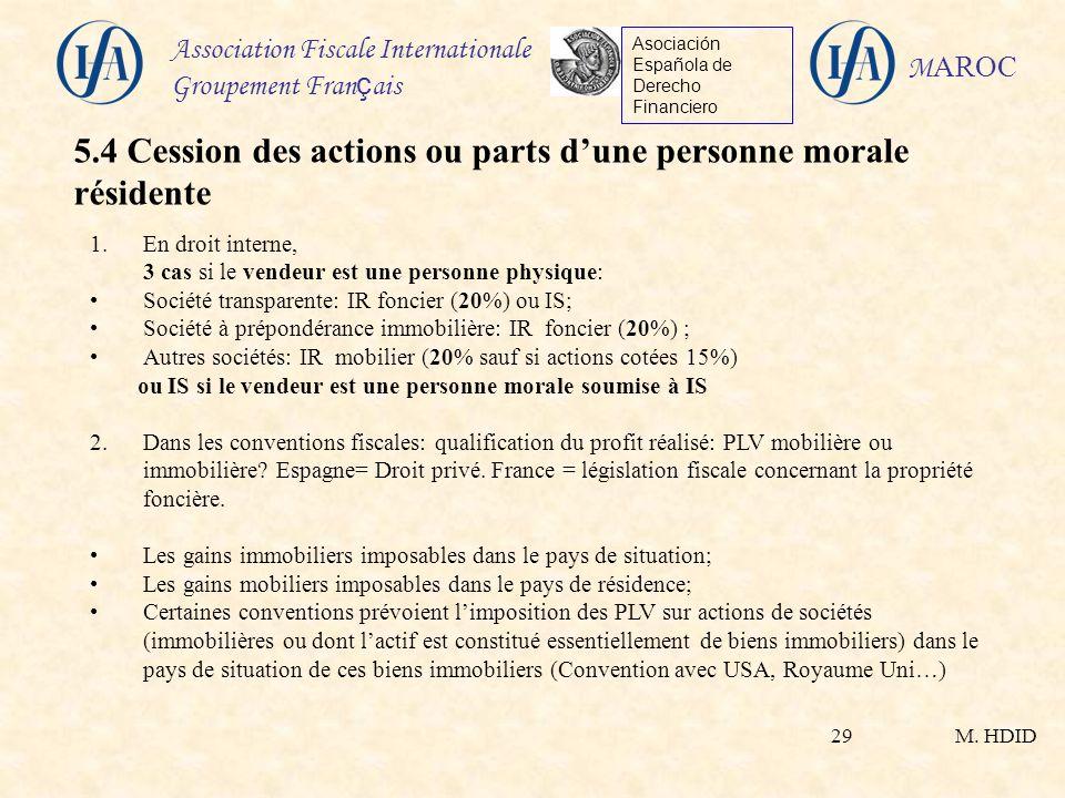 5.4 Cession des actions ou parts d'une personne morale résidente