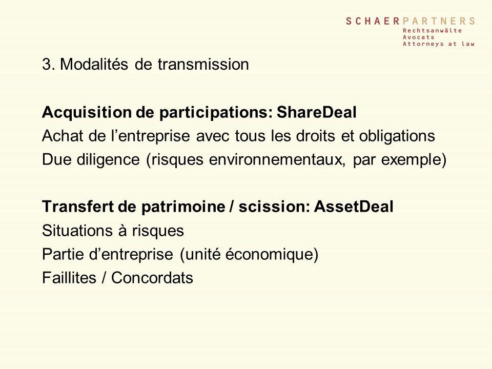 3. Modalités de transmission