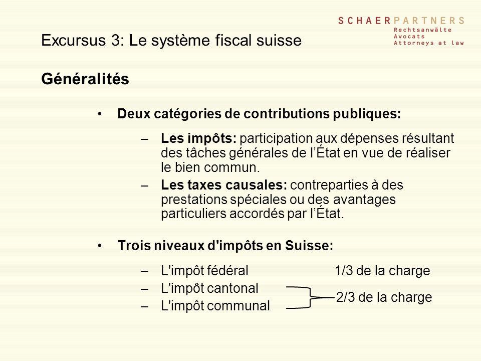 Excursus 3: Le système fiscal suisse Généralités