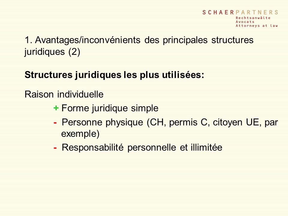 1. Avantages/inconvénients des principales structures juridiques (2)