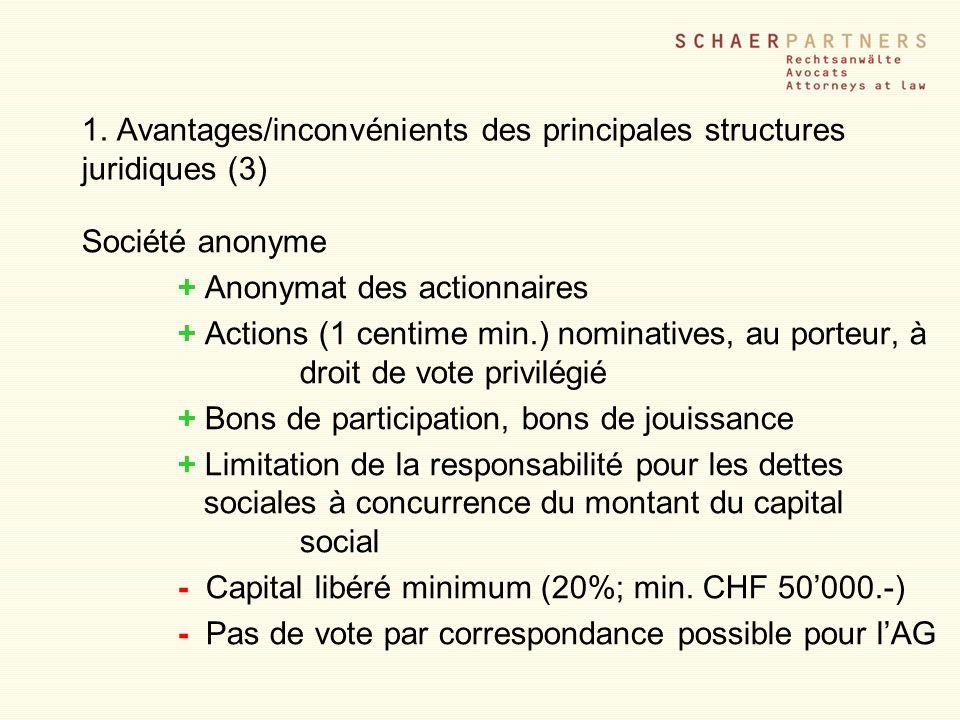 1. Avantages/inconvénients des principales structures juridiques (3)