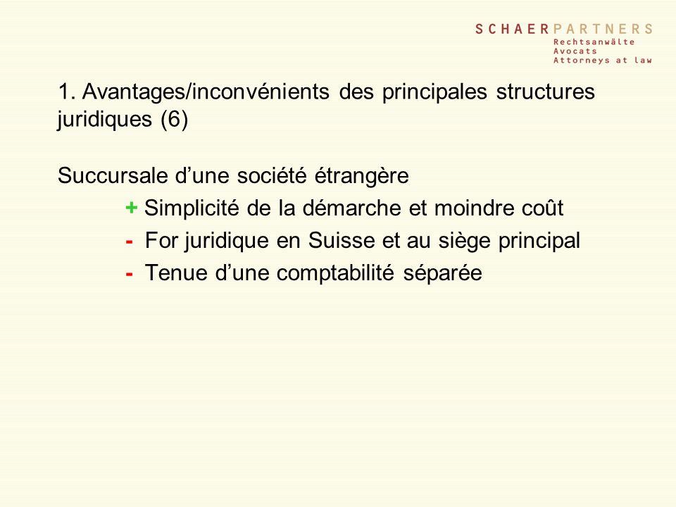 1. Avantages/inconvénients des principales structures juridiques (6)