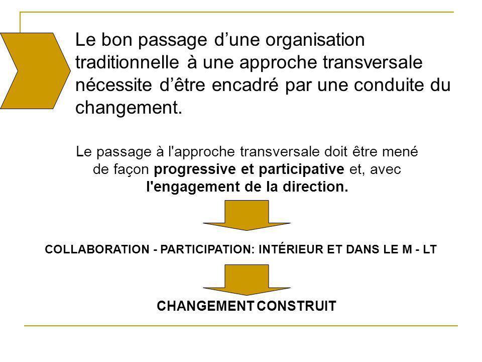 Le bon passage d'une organisation traditionnelle à une approche transversale nécessite d'être encadré par une conduite du changement.