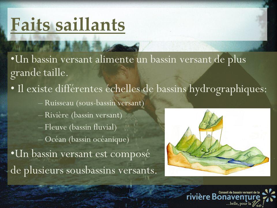 Faits saillants Un bassin versant alimente un bassin versant de plus grande taille. • Il existe différentes échelles de bassins hydrographiques: