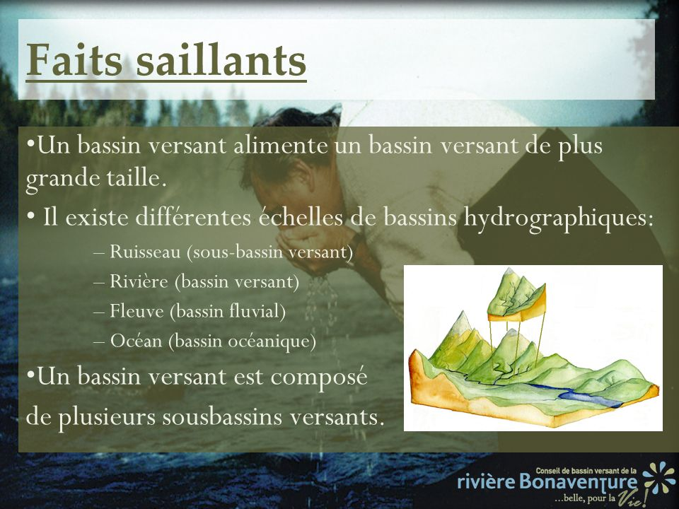 Faits saillantsUn bassin versant alimente un bassin versant de plus grande taille. • Il existe différentes échelles de bassins hydrographiques: