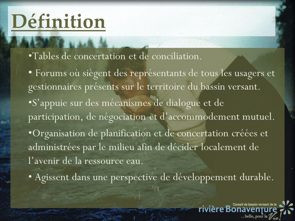Définition Tables de concertation et de conciliation.